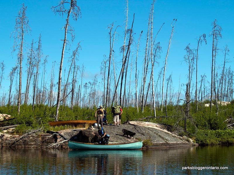 Portaging through Haggart River at Woodland Caribou Provincial Park