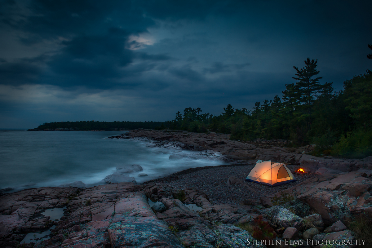 tent and camp-fire Georgian Bay Killarney Provincial Park