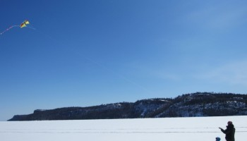 Go Fly a Kite! A Winter Ice Hike on Lake Superior
