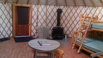 Inside the Cyprus lake yurt