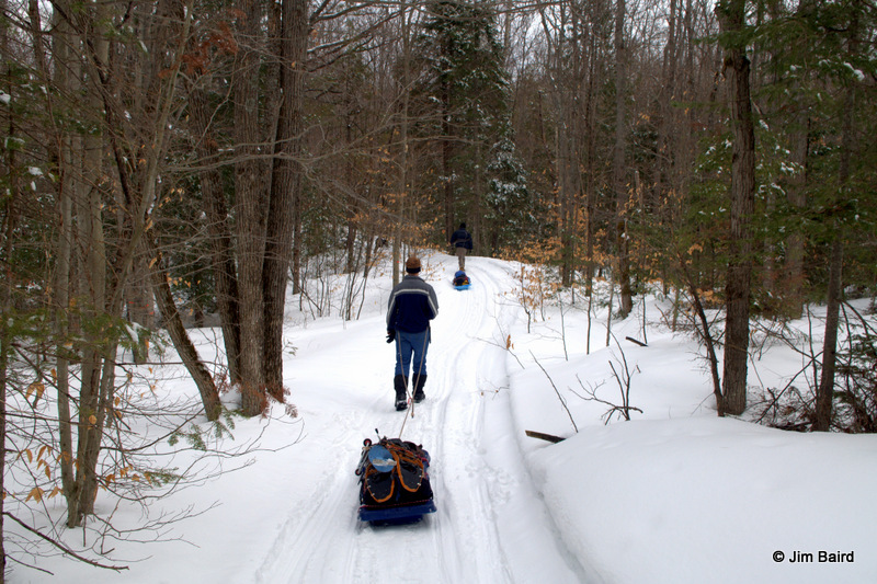 winter trekking with toboggans in Ontario