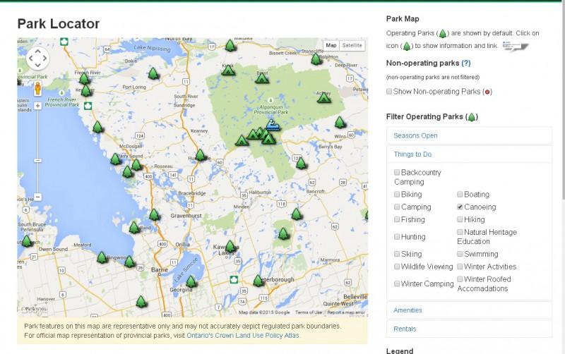 Ontario parks park locator