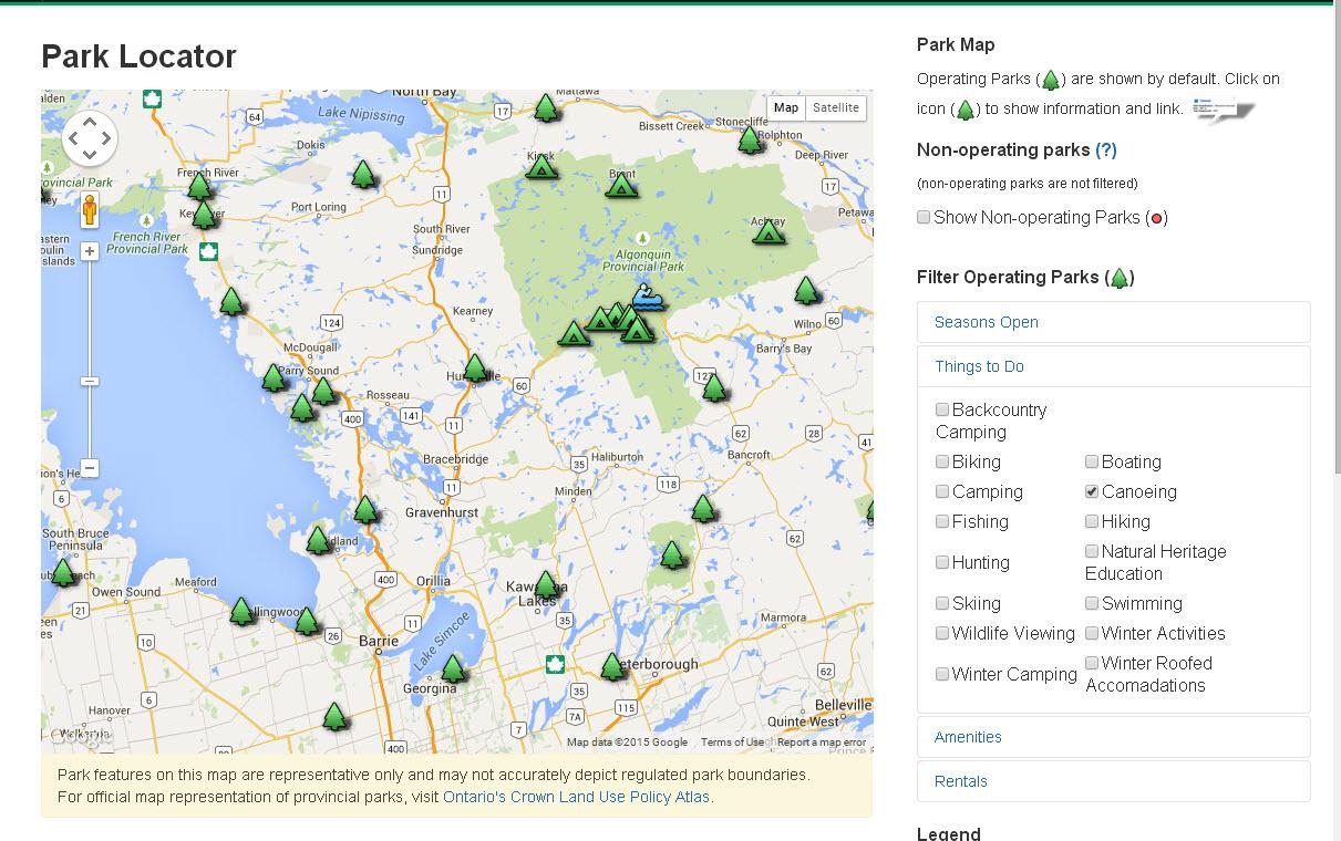 Ontario Parks Map Interactive Outdoor Maps of Ontario