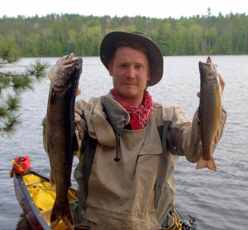 Jim with a Lake Trout and a Brook Trout, Petawawa River, Algonquin