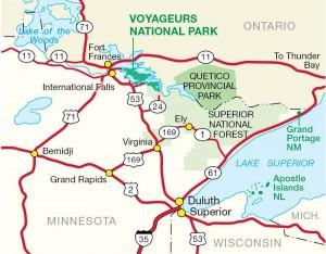 Quetico Provincial Park Location in Map