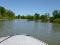 View of the shallow Grand River from our boat