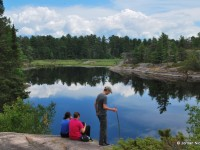 Hikers Observe Swan Lake