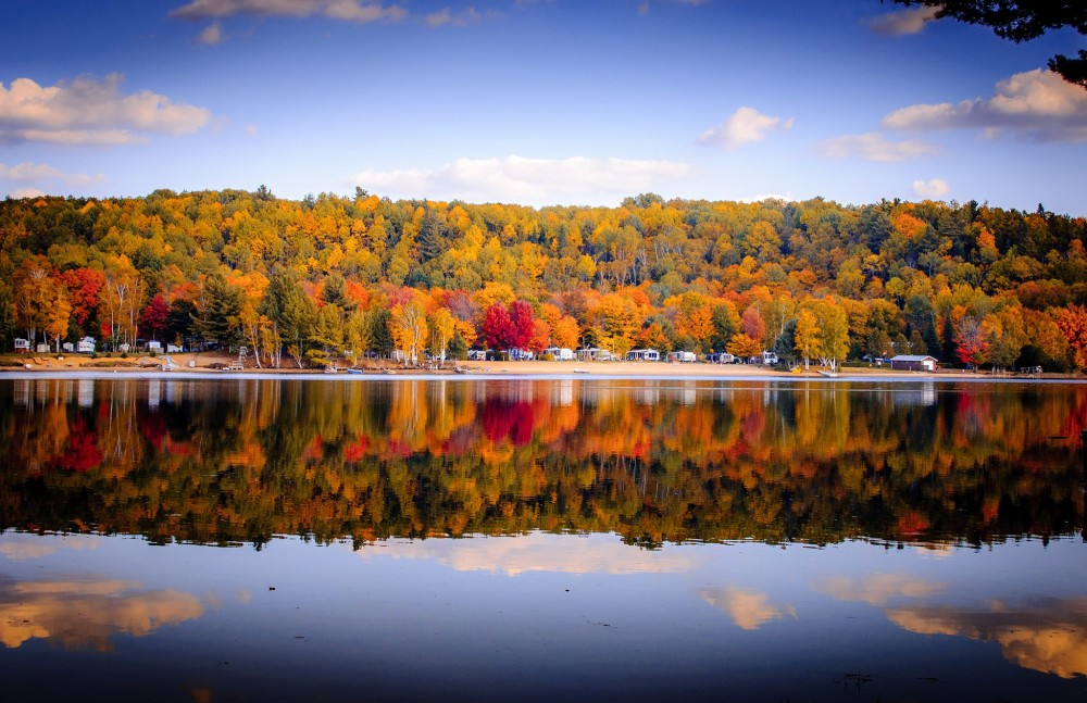 Algonquin Cottages and Fall color reflection