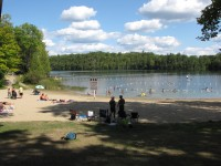 Sandy beach on Sharbot Lake Provincial Park