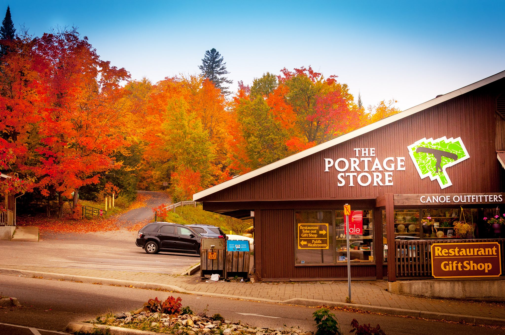 Portage Store in Fall colour background, Algonquin