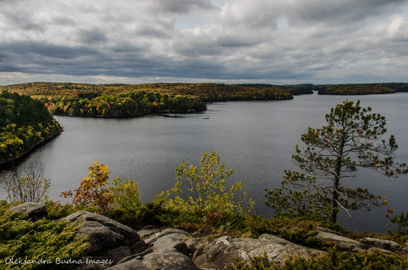 fall colours seen from the Stormy Lake bluffs in Restoule Provincial Park
