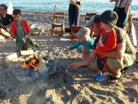 Park staff put on a beach sing-a-long and bonfire, with smores for the kids