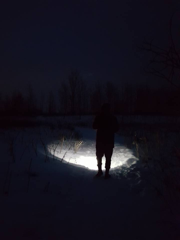 Kettle Lake at night, Forks of the Credit Provincial Park - Winter hiking