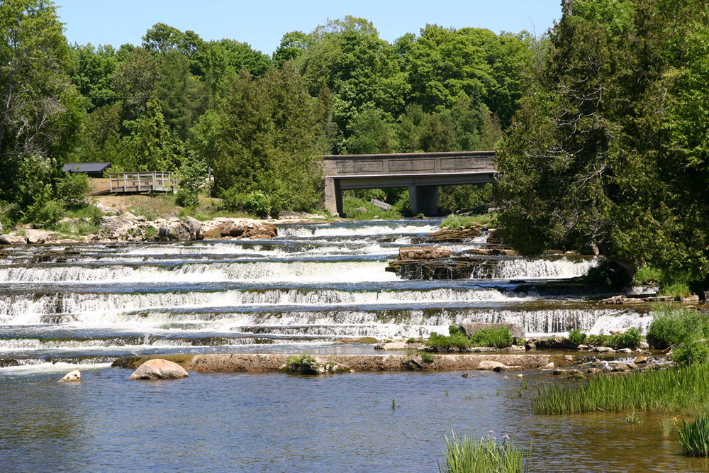 View of the Sauble Falls from the bottom shore of the river